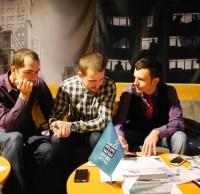Максим Бицан, Герман Гайдин, конкурсанты, Артем Билык, руководитель Инженерного центра УЦСС. TEA MEETUP №2